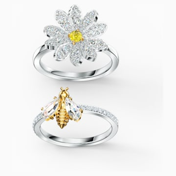 Eternal Flower Ringset, gelb, Metallmix - Swarovski, 5534937