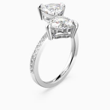Prsten Attract Soul Heart, bílý, rhodiovaný - Swarovski, 5535191