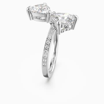 Prsten Attract Soul Heart, bílý, rhodiovaný - Swarovski, 5535328