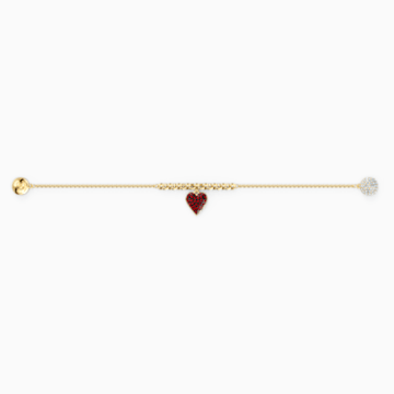 Strand Swarovski Remix Collection Heart, rouge, métal doré - Swarovski, 5535346
