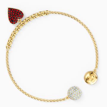 Strand Swarovski Remix Collection Heart, rojo, baño tono oro - Swarovski, 5535346