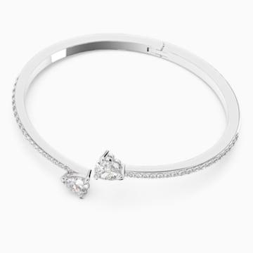 Attract Soul Heart Bangle, White, Rhodium plated - Swarovski, 5535354