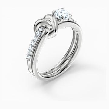 Lifelong Heart Ring, White, Rhodium plated - Swarovski, 5535399