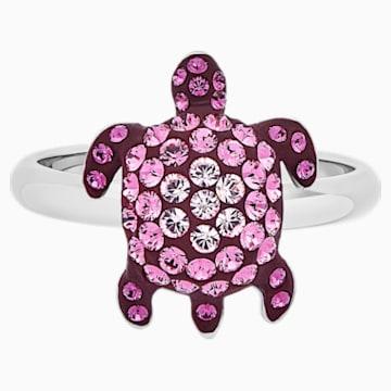 Anillo Mustique Sea Life Turtle, pequeño, rosa, baño de paladio - Swarovski, 5535420