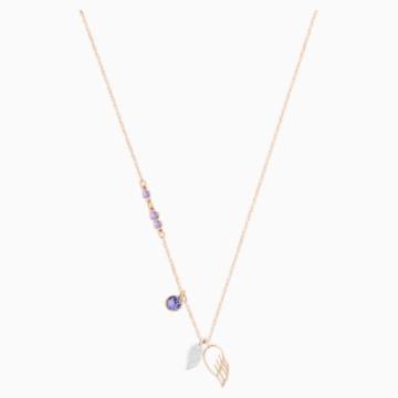 Swarovski Symbolic Wing Pendant, Purple, Rose-gold tone plated - Swarovski, 5535523