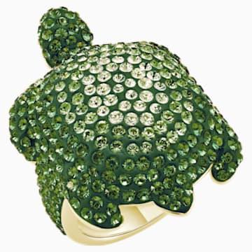 Mustique Sea Life Turtle 戒指, 大碼, 綠色, 鍍金色色調 - Swarovski, 5535553