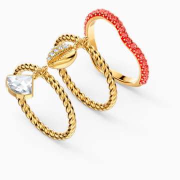Shell Ring Set, Red, Gold-tone plated - Swarovski, 5535558