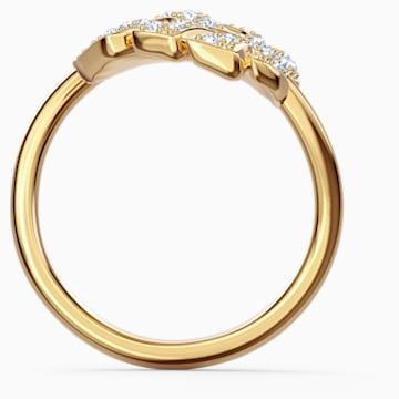 Tropical open ring met blad, Wit, Goudkleurige toplaag - Swarovski, 5535560