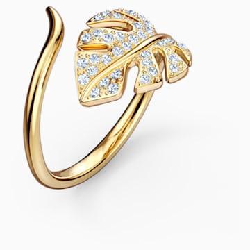 Tropical open ring met blad, Wit, Goudkleurige toplaag - Swarovski, 5535563