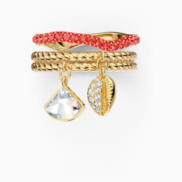 Sada prstenů Shell, červená, pozlacená - Swarovski, 5535567