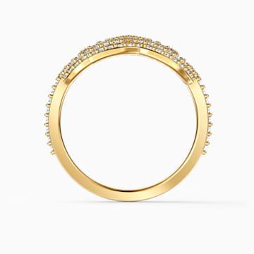 Prsten s lotosem Swarovski Symbolic, bílý, pozlacený - Swarovski, 5535595