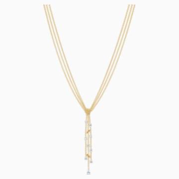 Botanical Y形項鏈, 白色, 鍍金色色調 - Swarovski, 5535779