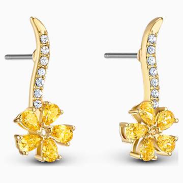 Botanical Flower İğneli Küpeler, Sarı, Altın rengi kaplama - Swarovski, 5535796