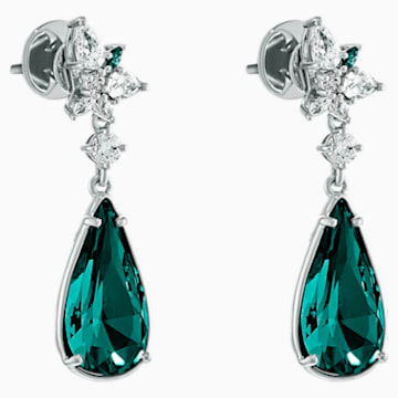 Boucles d'oreilles Botanical, vert, métal rhodié - Swarovski, 5535817