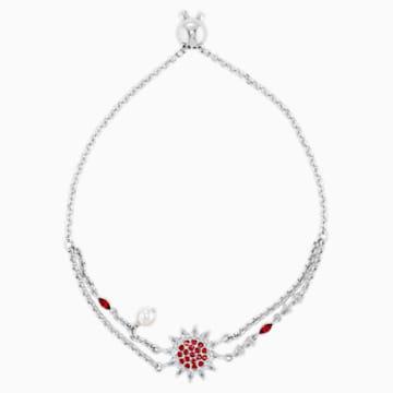 Náramek Botanical, červený, rhodiovaný - Swarovski, 5535818