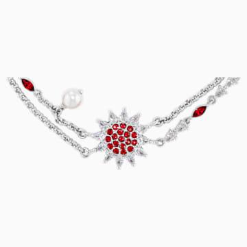Bracelet Botanical, rouge, métal rhodié - Swarovski, 5535818