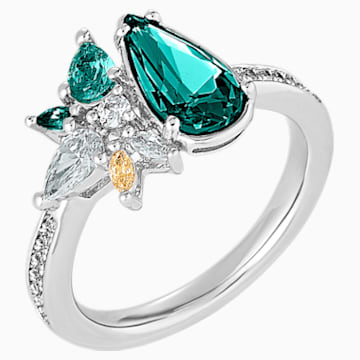 Botanical Ring, Green, Rhodium Plated - Swarovski, 5535820