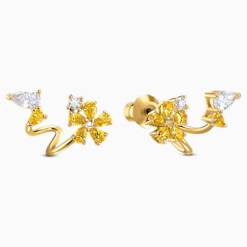 Boucles d'oreilles Botanical Wrap, jaune, métal doré - Swarovski, 5535828