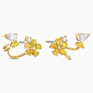 Botanical Wrap 穿孔耳环, 黄色, 镀金色调 - Swarovski, 5535828