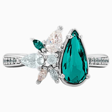 Botanical Ring, Green, Rhodium Plated - Swarovski, 5535839