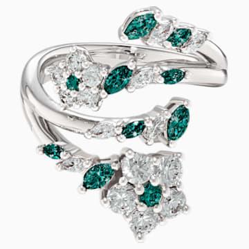 Botanical nyitott gyűrű, zöld, ródium bevonattal - Swarovski, 5535841