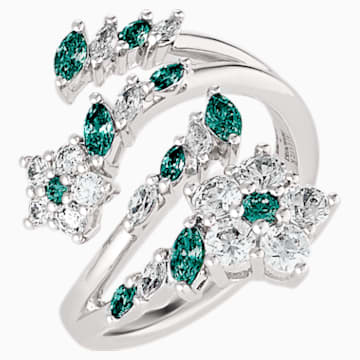 Botanical Open Ring, Green, Rhodium Plated - Swarovski, 5535841