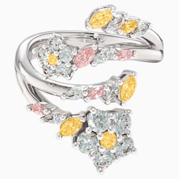 Botanical 開口戒指, 淺色漸變, 鍍白金色 - Swarovski, 5535868