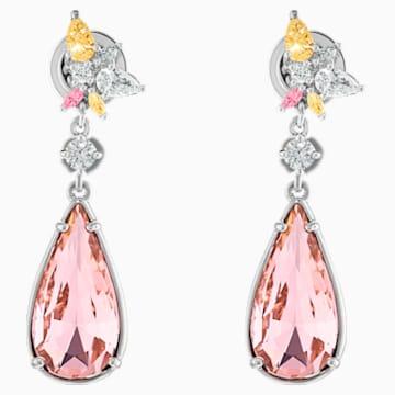 Boucles d'oreilles Botanical, rose, métal rhodié - Swarovski, 5535869