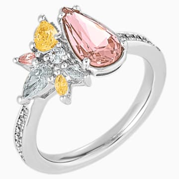 Botanical Ring, Light multi-colored, Rhodium Plated - Swarovski, 5535871