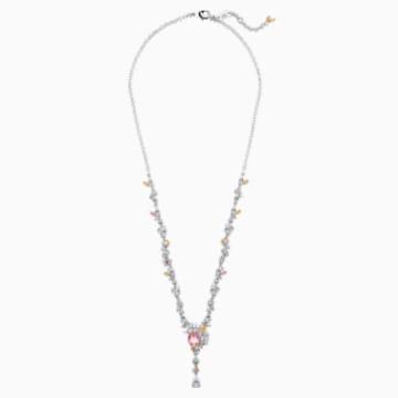 Botanical Necklace, Light multi-coloured, Rhodium plated - Swarovski, 5535875