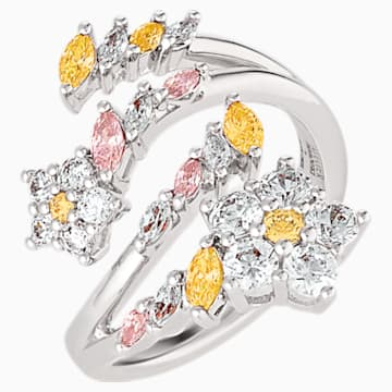 Botanical Open Ring, Light multi-coloured, Rhodium plated - Swarovski, 5535878