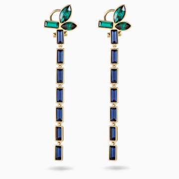 Bamboo Pierced Earrings, Dark multi-colored, Gold-tone plated - Swarovski, 5535892