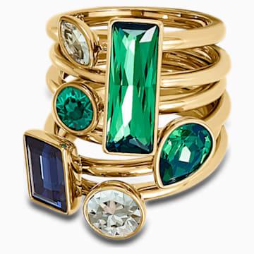 Conjunto de anillos (6) Beautiful Earth by Susan Rockefeller, colores oscuros, baño tono oro - Swarovski, 5535895