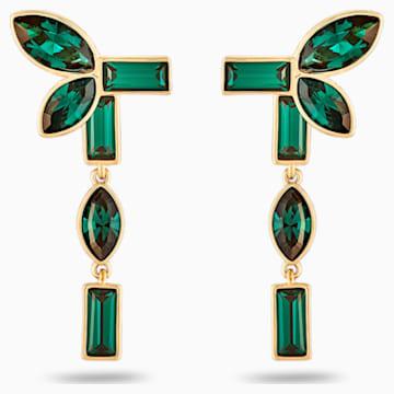 Bamboo Pierced Earring Jackets, Green, Gold-tone plated - Swarovski, 5535896