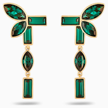 Boucles d'Oreilles « Ear-Jacket » Beautiful Earth by Susan Rockefeller, vert, métal doré - Swarovski, 5535896