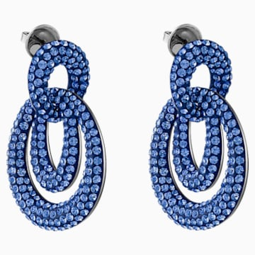 Tigris Pierced Earrings, Blue, Ruthenium plated - Swarovski, 5535899