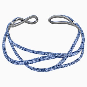 Tigris Statement 頸鍊, 藍色, 鍍黑鉻色 - Swarovski, 5535902