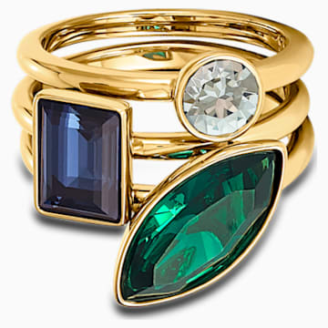 Conjunto de anillos Beautiful Earth by Susan Rockefeller, colores oscuros, baño tono oro - Swarovski, 5535936