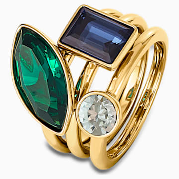 Beautiful Earth by Susan Rockefeller Ring Set, Dark multi-colored, Gold-tone plated - Swarovski, 5535936
