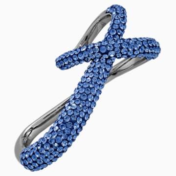 Tigris 雙環戒指, 藍色, 鍍黑鉻色 - Swarovski, 5535948