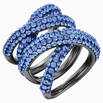 Tigris Wide Ring, Blue, Ruthenium plated - Swarovski, 5535952