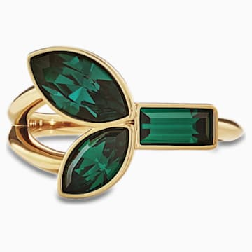 Bamboo-ring, Groen, Goudkleurige toplaag - Swarovski, 5535955