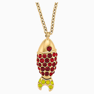 Mustique Sea Life Fish Pendant, Red, Gold-tone plated - Swarovski, 5536001