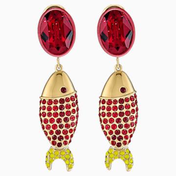 Mustique Sea Life Fish 穿孔耳環, 紅色, 鍍金色色調 - Swarovski, 5536002