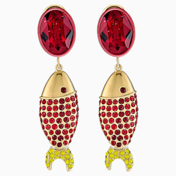 Pendientes Mustique Sea Life Fish, rojo, baño tono oro - Swarovski, 5536002