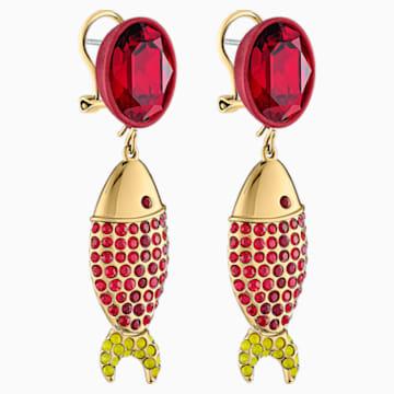 Mustique Sea Life Fish 穿孔耳环, 红色, 镀金色调 - Swarovski, 5536002