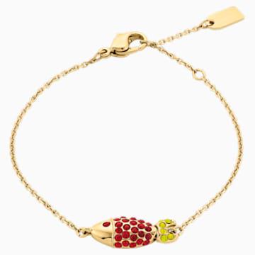 Mustique Sea Life Fish Bracelet, Red, Gold-tone plated - Swarovski, 5536008
