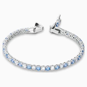 Tennis Deluxe Bracelet, Light Blue, Rhodium plated - Swarovski, 5536469
