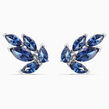 Louison 耳釘, 藍色, 鍍白金色 - Swarovski, 5536549
