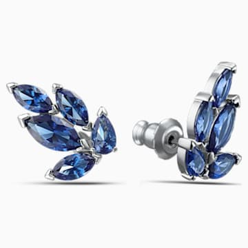 Louison Stud Pierced Earrings, Blue, Rhodium plated - Swarovski, 5536549